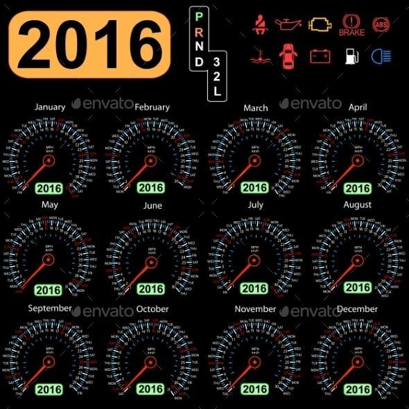 2016 Year Calendar Speedometer Car