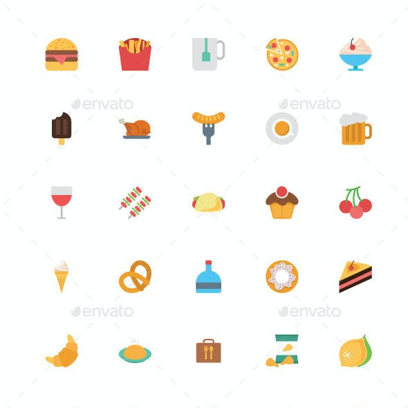 125+ Flat Food Vector Icons