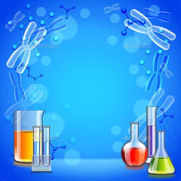 Cool Background For Health: Science Background With Test Tubes And Flasks By