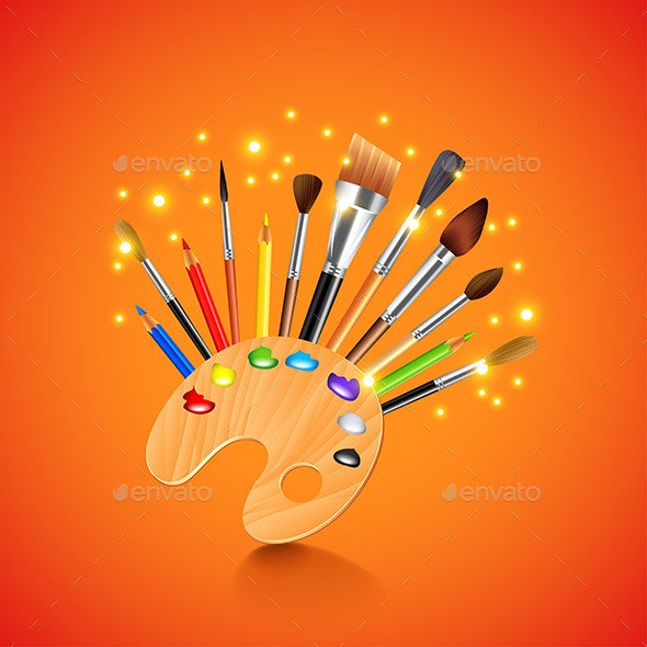 Palette and Brushes on Orange Background - Man-made Objects Objects