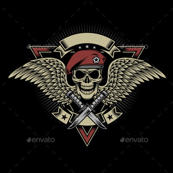 Military Skull with Wings and Daggers