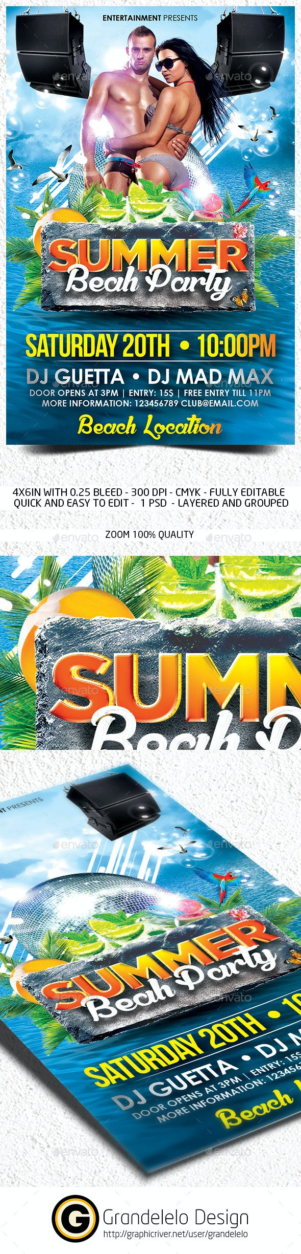 The Summer Beach Party Flyer Template - Clubs & Parties Events