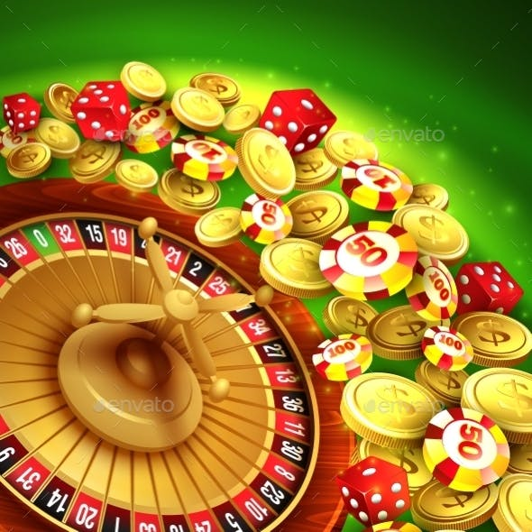 Casino Background with Chips, Craps and Roulette