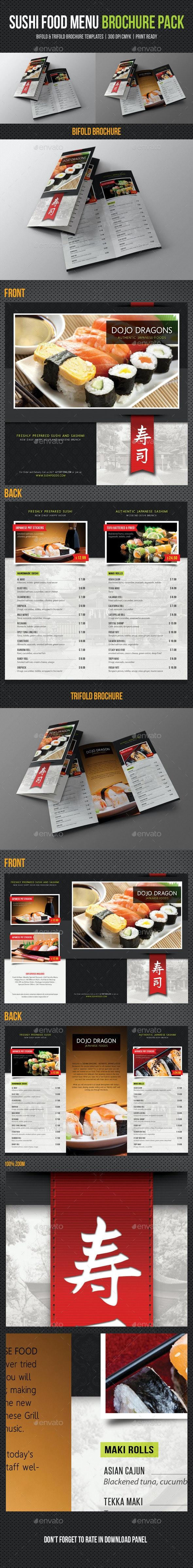 Sushi Restaurant Menu Brochure Pack - Food Menus Print Templates