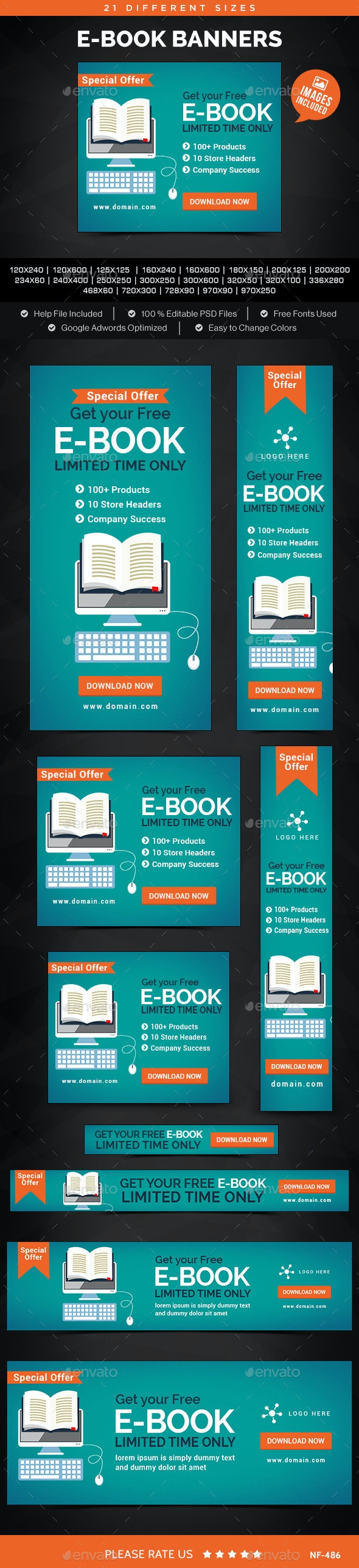 E-Book Banners - Banners & Ads Web Elements