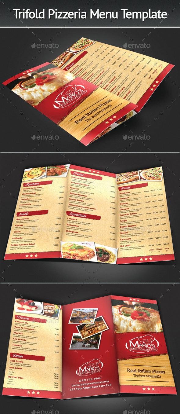 Trifold Pizzeria Menu Template - Food Menus Print Templates