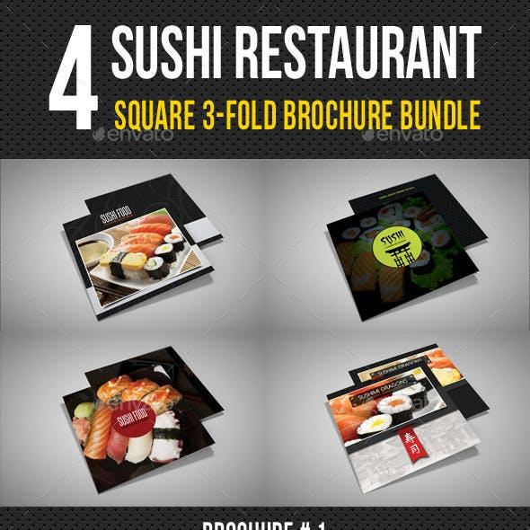 4 Sushi Restaurant Menu 3-Fold Brochure Bundle