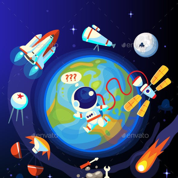 Colorful Space and Earth Icons