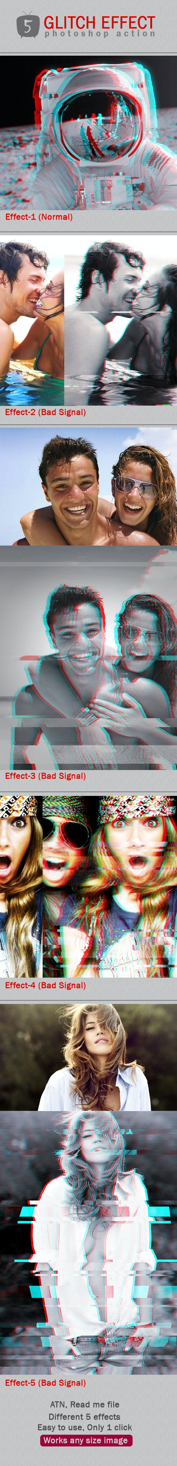 Glitch PS Effects - Photo Effects Actions