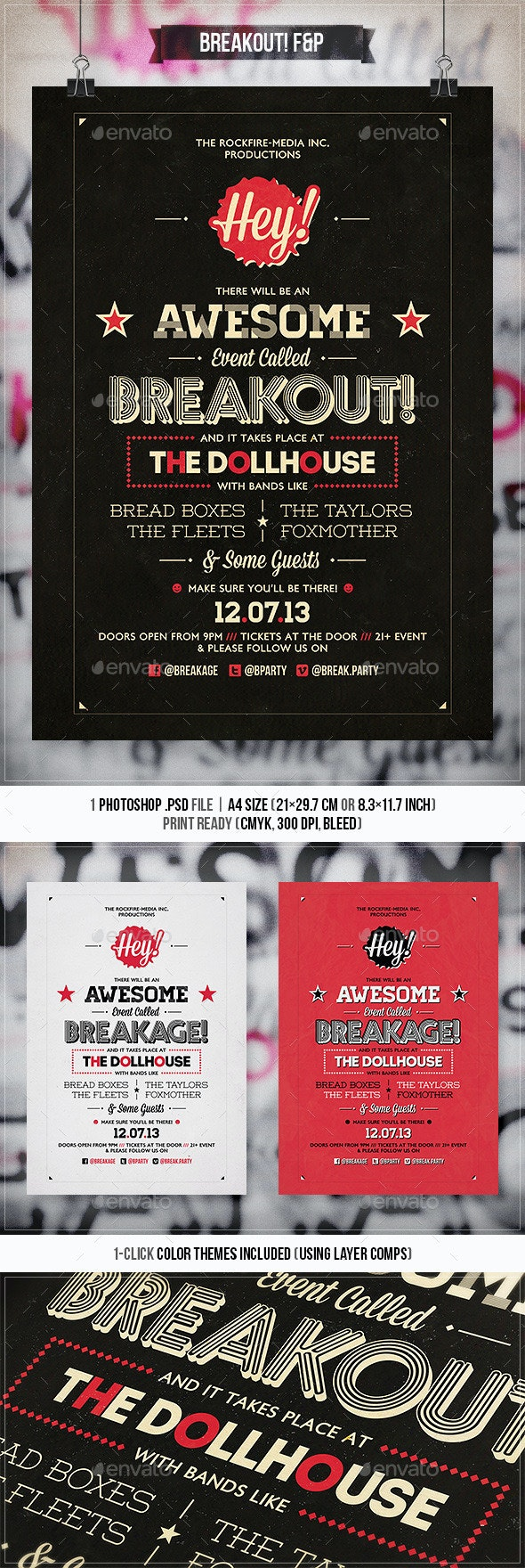 Breakout - Typography Flyer & Poster - Concerts Events
