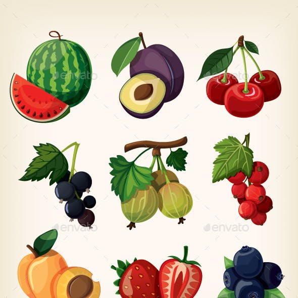 Juicy Colorful Berry Icons