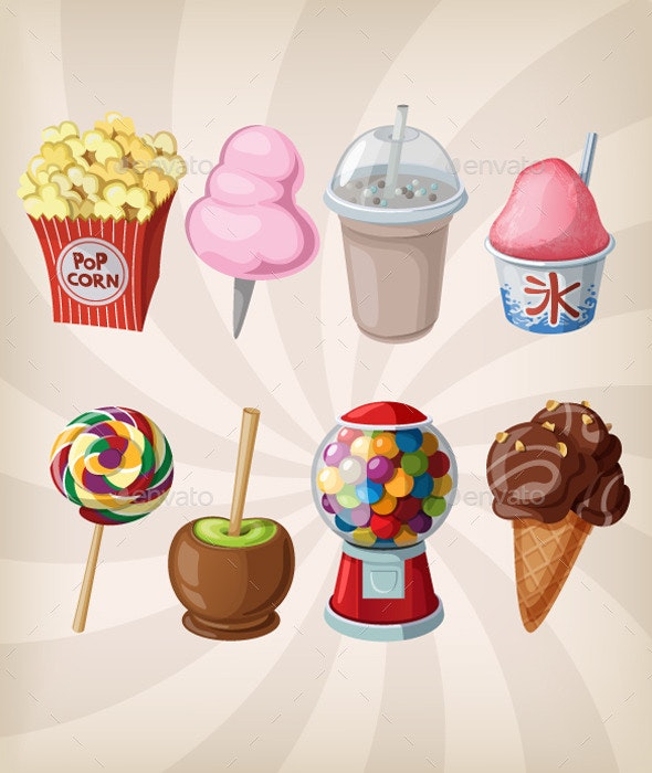 Collection of Fair Drinks and Sweets - Food Objects