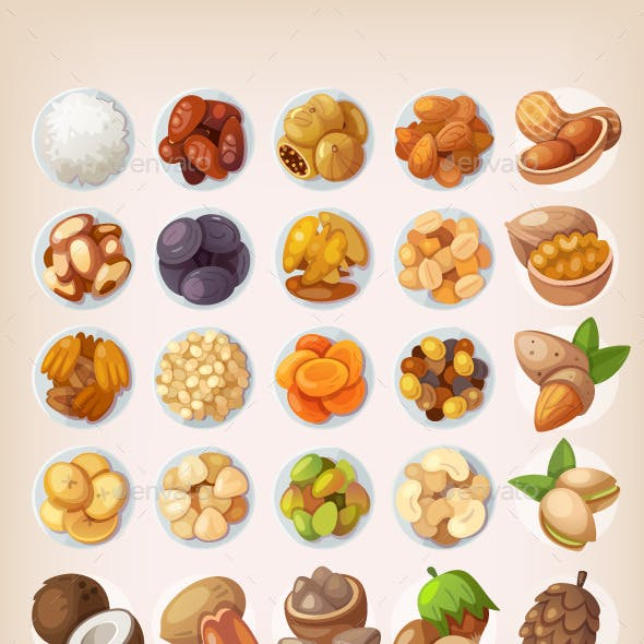 Colorful Set of Dried Fruit and Nuts