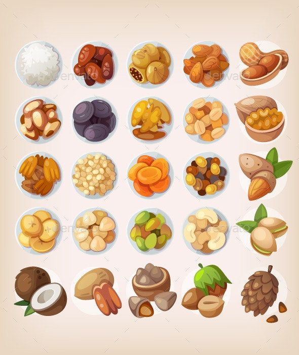Colorful Set of Dried Fruit and Nuts - Food Objects