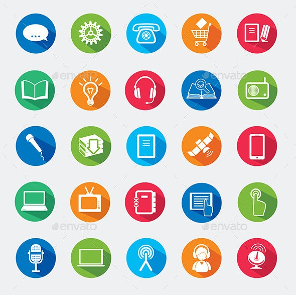 Set of Web Icons with Modern and Old Object - Technology Icons