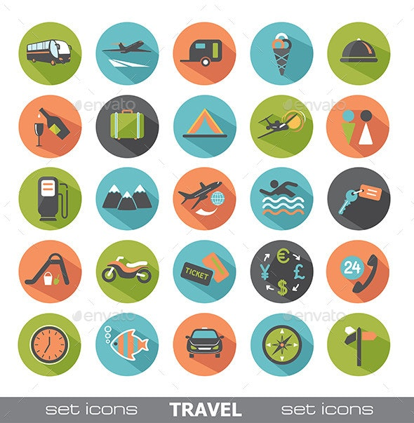 Travel,Transport, Food Icons and design elements.  - Icons