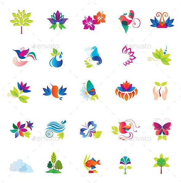 Set of Colorful Design Elements. Nature Icons. - Seasonal Icons
