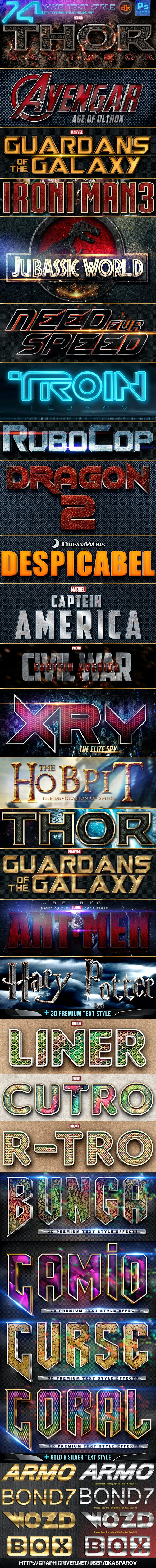 74 Movie Text Style Bundle - Text Effects Styles