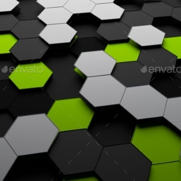 Rendering Of Futuristic Surface With Hexagons