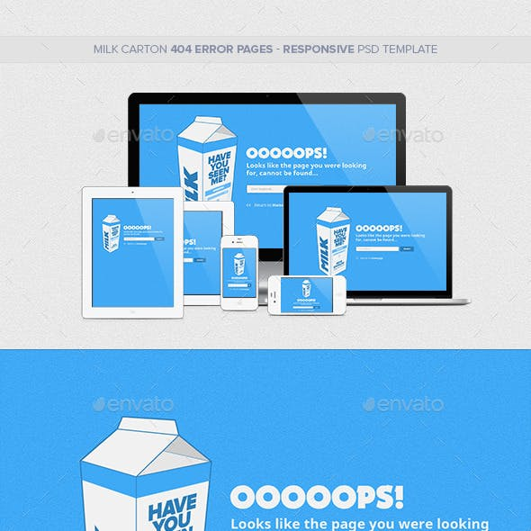 Milk Carton Responsive 404 Error Pages