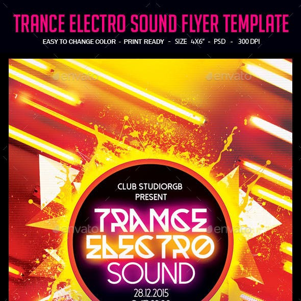 Trance Electro Sound Flyer Template