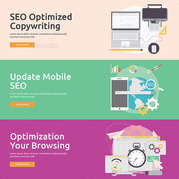 Flat Concept Banners for SEO