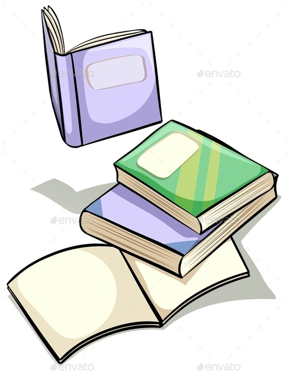 Set of Books - Objects Vectors