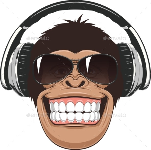 Funny Monkey With Glasses - Tattoos Vectors