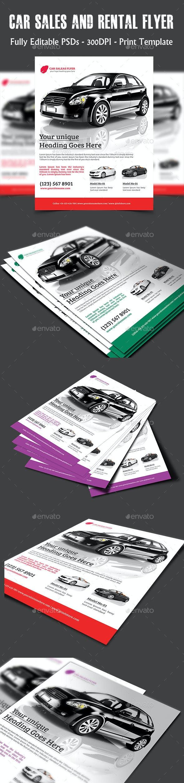 Car Sales & Rental Flyer - Flyers Print Templates