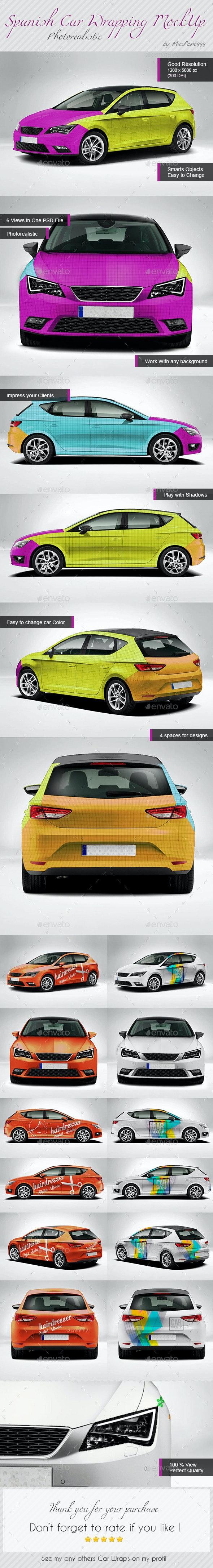 Photorealistic Spanish Leon Car Mock-up - Vehicle Wraps Print