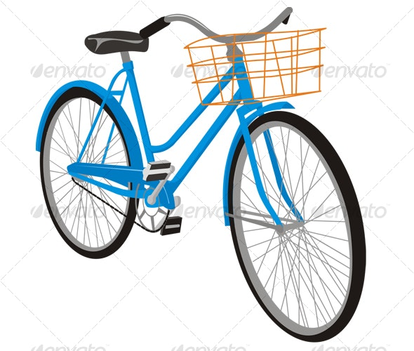 Old Blue Bike - Man-made Objects Objects
