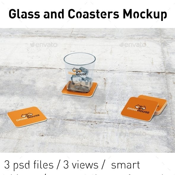 Whiskey Glass and Coasters Mockup