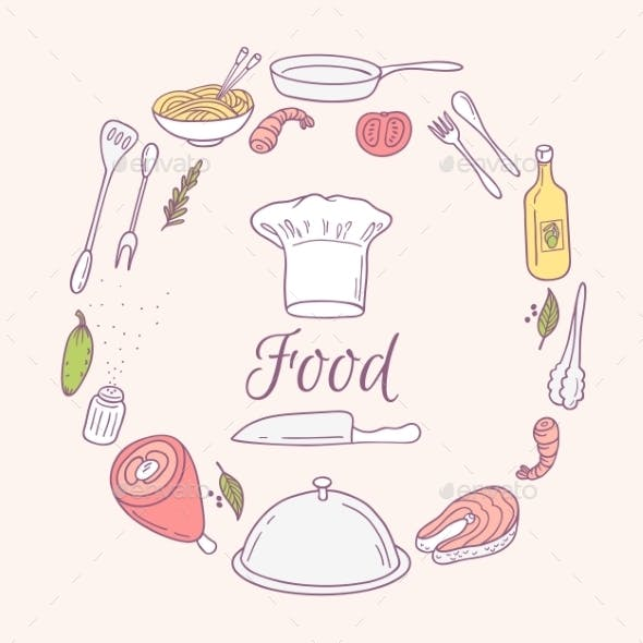 Round Card With Doodle Food Icons. Hand Drawn