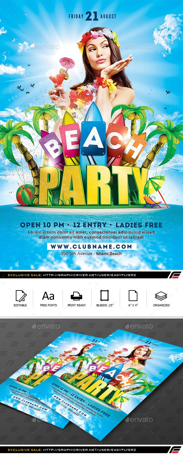 Beach Party Flyer Template - Events Flyers