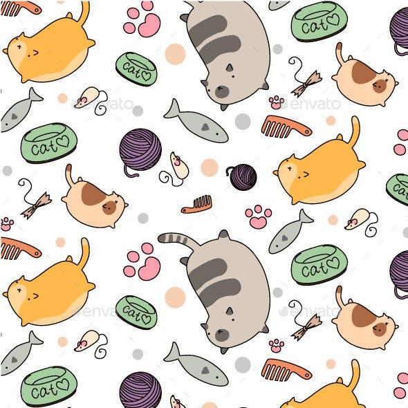 Cat Stuff Seamless Pattern