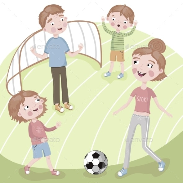 Family on Vacation Playing Football - Sports/Activity Conceptual