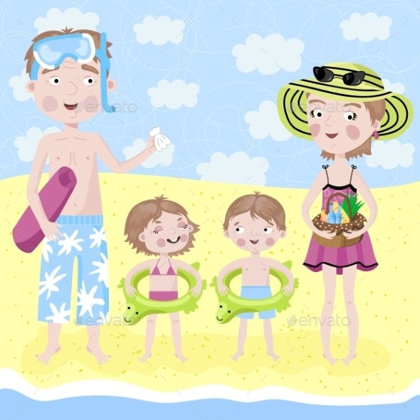 Family on Holiday by the Sea - People Characters
