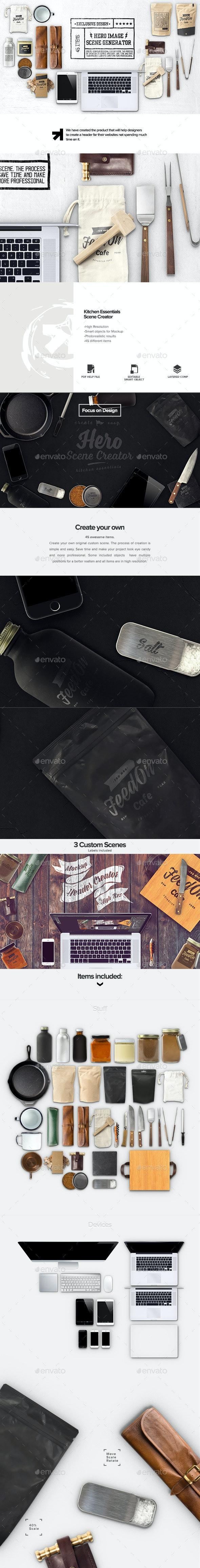 Hero Kitchen Essentials Mockup Creator - Hero Images Graphics