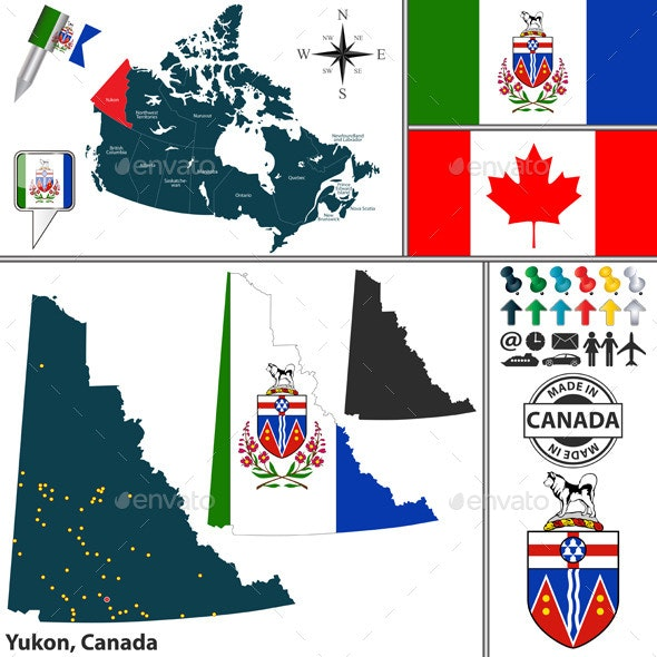 Map of Yukon, Canada - Travel Conceptual