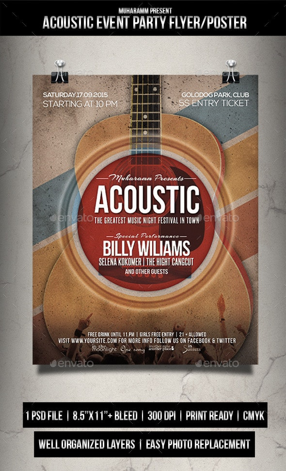 Acoustic Event Party Flyer / Poster - Events Flyers