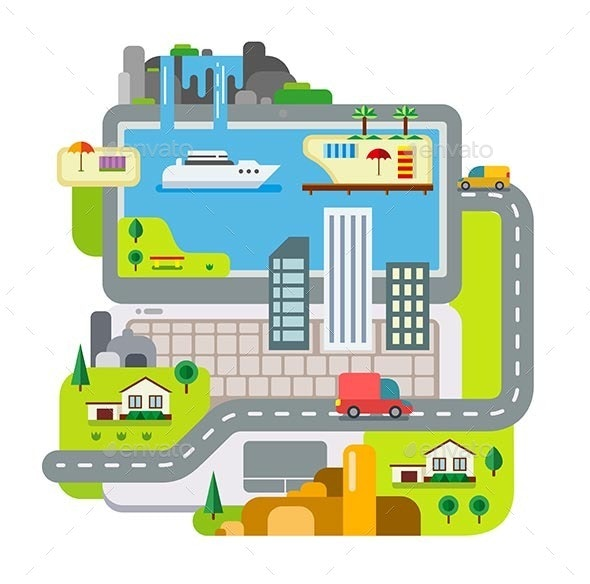 City Built Around Laptop - Travel Conceptual