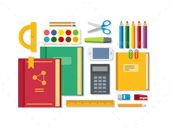 School Education Items on Table - Man-made Objects Objects