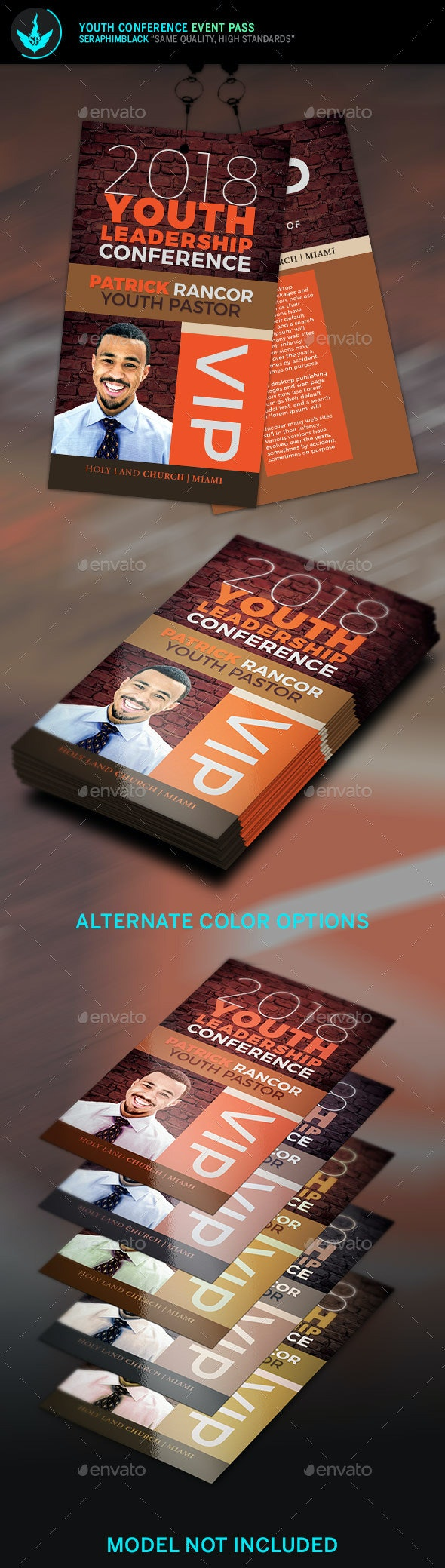 Youth Conference Event Pass Template - Miscellaneous Print Templates