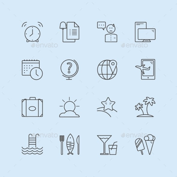 Summer Vector Logo Icons Set. Sea, Travel Or - Miscellaneous Icons