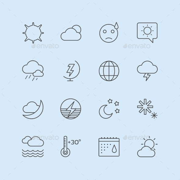 Weather Icons Vector Set. Moon, Sky Or Wind