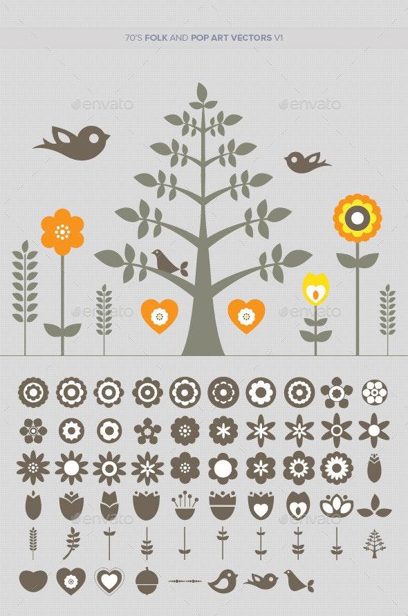70s Folk and Pop Art Vectors v1 - Decorative Symbols Decorative