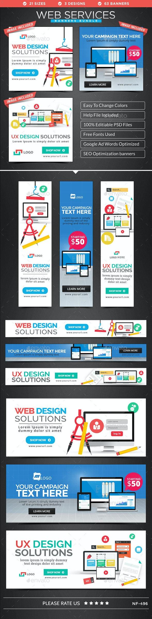 Web Services Banners Bundle - 3 Sets - Banners & Ads Web Elements