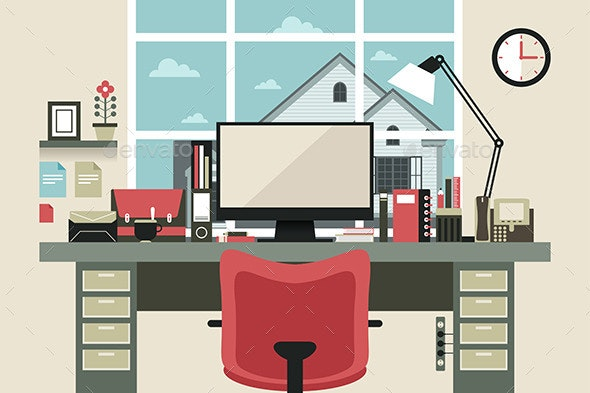 Modern Office Interior in Flat Design - Objects Vectors