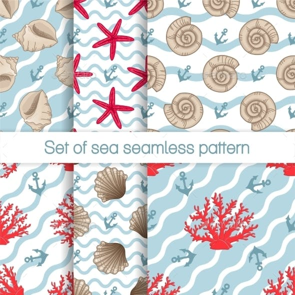 Set Of Sea Seamless Patterns With Curves