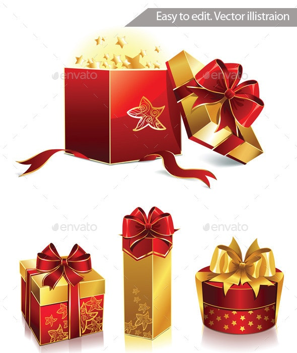 Vector Set Of Four Holiday And Christmas Boxes - Objects Vectors